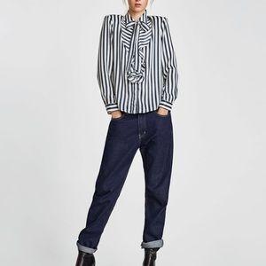 Zara Striped Shirt With Bow Sz S